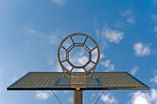 Free Basketball Hoop Against A Cloudy Sky Royalty Free Stock Image - 19919966