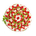 Free Fruit Cake With Strawberries And Kiwi Fruit Stock Photos - 19925863