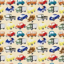 Seamless Cartoon Car Pattern Royalty Free Stock Photography