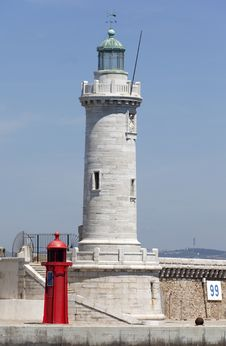 Stone Lighthouse In Marseille Stock Photo