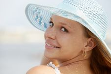 Free Woman In Straw Hat Smiling At Camera Stock Images - 19923214