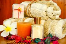 Free Spa Products With Flowers And Towel Stock Photo - 19923240