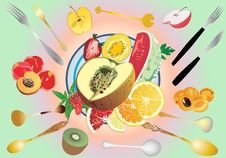 Free Fruit Pieces On Table Illustration Royalty Free Stock Photo - 19924615