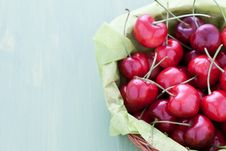 Free Fresh Cherries In A Basket Royalty Free Stock Image - 19927996