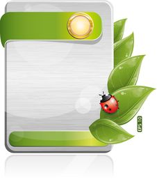 Free Metal Form With Green Leaf And Ladybug Stock Photos - 19928473