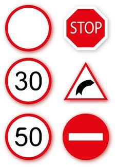 Free Set Ot European Traffic Signs Royalty Free Stock Photo - 19929025