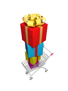 Shopping Cart With Pile Of Gifts. Royalty Free Stock Image