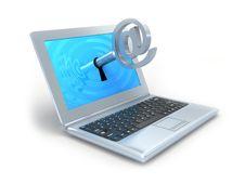 Laptop And E-mail Key. Stock Photo