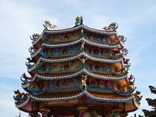 Chinese Temple With Blue Sky In Chonburi Thailand Royalty Free Stock Photography