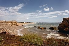 Small Beach On The Banks Of The River Tejo. Royalty Free Stock Images