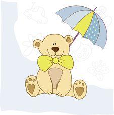 Free Baby Invitation With Teddy Bear Stock Image - 19935141