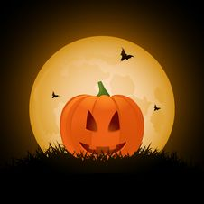 Halloween Pumpkin And Bats Stock Images