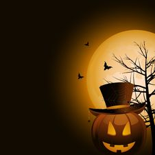 Free Halloween Pumpkin And Full Moon Stock Image - 19935421