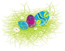 Eastern Rabbit Searching Eggs Color Stock Images