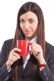 Free Portrait Of  Girl In Business Suit With  Cup Stock Photography - 19935952
