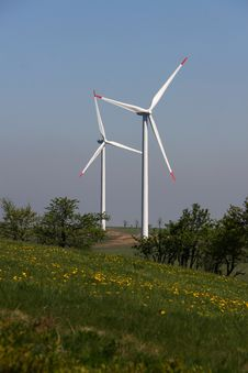 Free Pair Of Wind Power Plants Stock Image - 19936261
