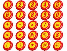 Free Set Of Numbers And Signs Stock Image - 19936701