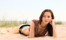 Free Woman On A Beach. Stock Photography - 19936722