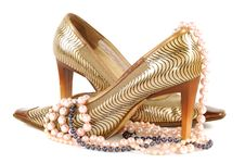 Woman Golden Shoe Stock Photo