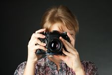 Free Portrait Of A Girl With A Camera Stock Photography - 19937672