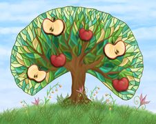 Free Apple Tree With Fruits On Hill Royalty Free Stock Images - 19948599