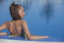 Free Woman Relaxing In Swimming Pool Stock Image - 19949851