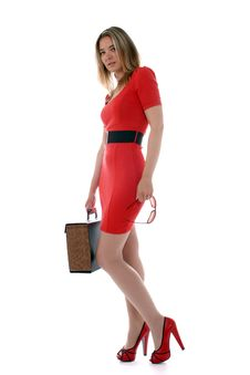 Free Business Woman In Red Royalty Free Stock Image - 19949856
