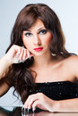 Free Attractive Brunette Woman With Beautiful Manicure Royalty Free Stock Images - 19950259
