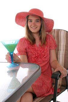 Woman Sitting On Patio Stock Image