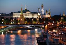 Russia, Moscow, Night View Stock Photography