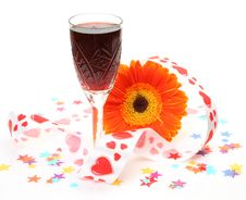 Free Wine And Flower Stock Image - 19950231