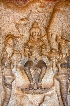 Scene From Mahabalipuram Caves Royalty Free Stock Photo