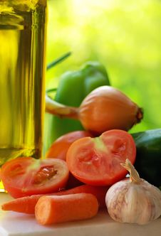 Free Olive Oil And Vegetables . Stock Photos - 19952633
