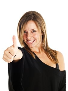 Cute Blond With Thumbs-up Royalty Free Stock Photos