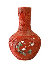 Old Chinese Red Vase Royalty Free Stock Photo