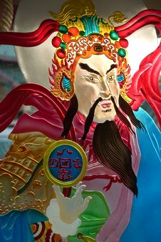 Painted Glass Of Chinese Deity Royalty Free Stock Photography