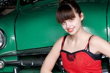 Free Beauty Young Woman With Green Retro Car Stock Image - 19956181