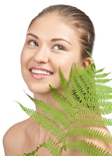 Free Beautiful Woman With Green Leaf Stock Image - 19956771