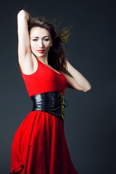 Free Young Sexy Woman In A Red Dress Royalty Free Stock Photo - 19958055