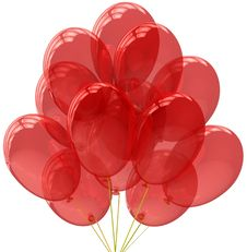 Free Party Balloons Translucent Colored Red. Stock Images - 19958394