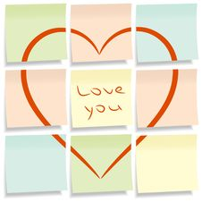 Free Sticky Notes With Heart. Royalty Free Stock Images - 19958489