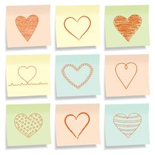 Sticky Notes With Hearts. Royalty Free Stock Images