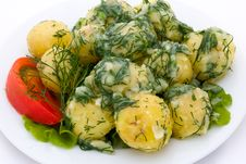 Potatoes And Tomatoes With Herbs Royalty Free Stock Images