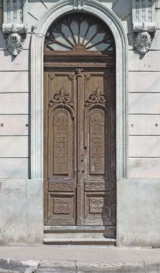 Old Wooden Door In Historical House Stock Photography