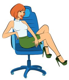 Business Women Sits In A Chair In Office Stock Image