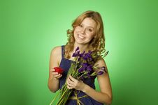 Free Attractive Girl Holding Flowers And A Gift Box Royalty Free Stock Photos - 19959358
