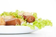 Free Hot Dog  On Plate Royalty Free Stock Image - 19961196