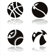 Free Black Balls Icons Royalty Free Stock Photography - 19961257