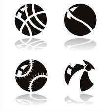 Free Black Balls Icons Royalty Free Stock Photography - 19961257