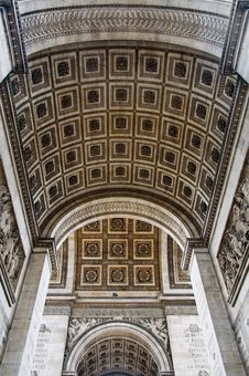 Underneath The Historic Arc De Triomphe Royalty Free Stock Photos